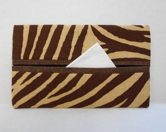 Brown Zebra Stripe Tissue Cozy/Gift Card Holder