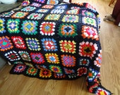 Brilliant Granny Squares Lap Afghan on Black