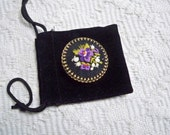 Vintage Jewelry Brooch Iris Applique Brass Setting Victorian  Floral Pin