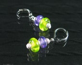 Drop Earrings Candy Glass Bead Lime and Purple Swirl Dangle Earrings