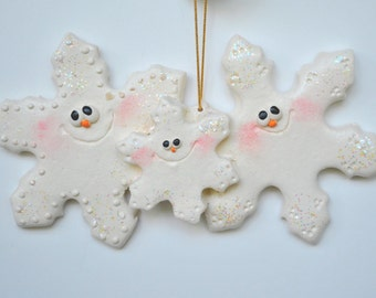 Personalized Snowflake Family of 3 Christmas  Ornament