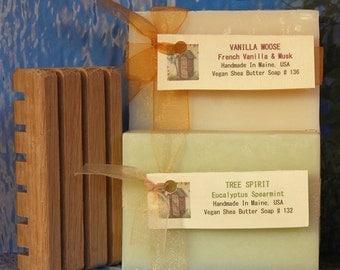 Soap Set 2 Natural Soap Bars With Wood Soap Dish - Handmade Soap Bars With Wooden Soap Tray