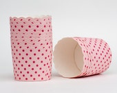 Pink Polka Dots Nut or Portion Paper Baking Cups with Scalloped Tops - set of 24