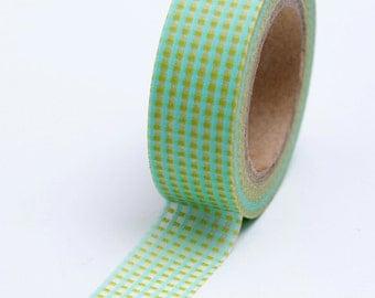 Washi Tape - 15mm - Aqua and Chartreuse Grid Design - Deco Paper Tape No. 689