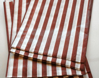 Set of 275 - Traditional Sweet Shop Brown Candy Stripe Paper Bags - 5 x 7 - New Style