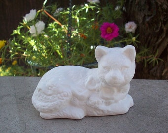 White Cat Figurine  Upcycled Cat Figurine
