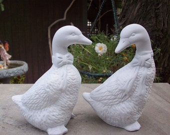 White Duck Figurines  Upcycled  Duck  Figurines   Pair of Upcycled Duck Figurines