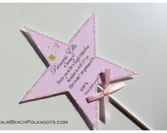 10 Princess Wand Birthday Tea Party Invitations by Palm Beach Polkadots