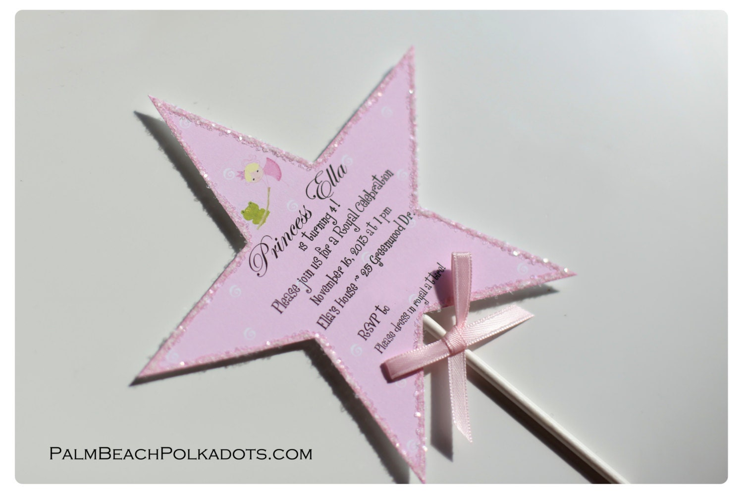 Princess wand birthday tea party invitation by for Birthday wand