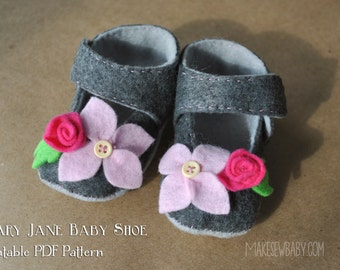 Floral Felt Baby Shoe Pattern Mary Jane with Flowers PDF