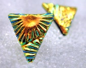 Small Triangle Studs in Dichroic Glass, Fiery Golden Triangles, Post Earrings 13mm