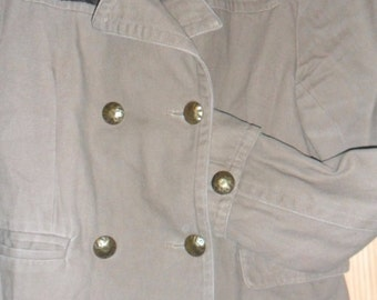 Steampunk Military Style Natural Heavy Weave  Jacket