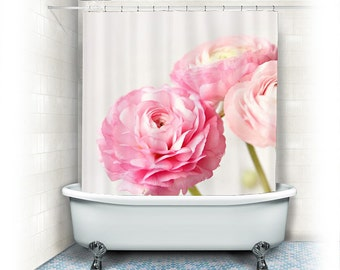"Ranunculus Fabric Shower Curtain ""Ranunculus trio"" white,pink,bathroom,home decor,pastel flowers,nature,floral shower curtain,shabby chic"
