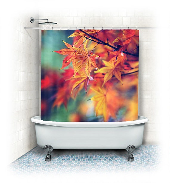 Items Similar To Fall Leaves Fabric Shower Curtain Fall Leaves Orange Yellow Red Aqua Bathroom