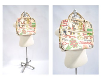 1970s vintage MOD bag purse small suitcase JAPAN tourist pop art
