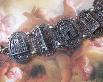 Vintage French Souvenir Bracelet, French Eifffel Tower Bracelet, Paris Landmarks Bracelet