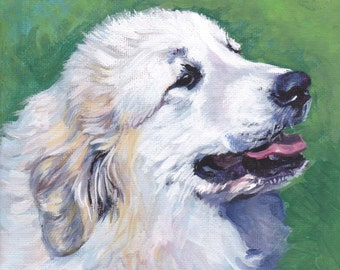 Great Pyrenees portrait art CANVAS print of L.A.SHEPARD painting 8x8 dog art