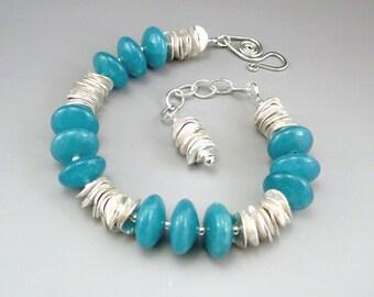 Aqua Bracelet, Aqua Jewelry, Ocean Jewelry, Chunky Bracelet, Adjustable Bracelet, Chunky Jewelry, Handmade Bracelet, Jewelry Gift