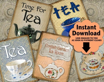 Time For Tea Printable Hang Tags / Tea Pot / Tea Party / Tea Cup - Price Tags, Gift Tags / Instant Download and Print Digital Collage Sheet