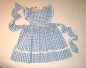 Pinafore Dress or Jumper in Gingham with Rick Rack trim.  Made to Order in sizes 1T to 6X.