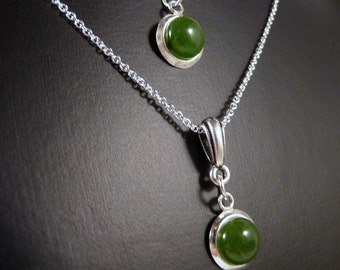 Necklace, 8mm Nephrite Jade, Sterling Silver  4295