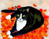 A Cat On Fallen Leaf Mat ~tuxedo cat lover gift small art print (25)