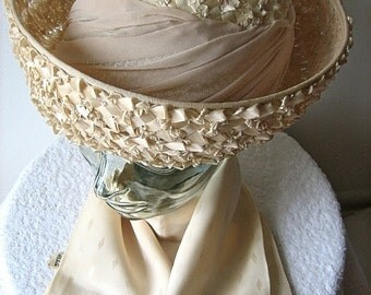 HAT Vintage Pill Box era Costume Jackie O Vogue Cream Straw Sash Bow Wide Brim with SCARF