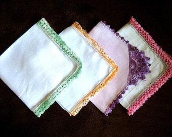 Hankie Set Handkerchief Linen Vintage 4 Piece Colorful CROCHETED LACE Trim Hems