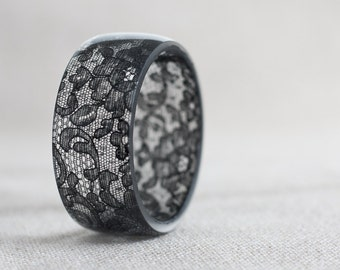 Black Lace Resin Bangle Bracelet Vintage French Lace Wide Cuff OOAK neutral rustic dark gothic jewelry