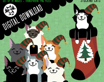 Stocking Cats- clipart Instant Digital Download graphics for your personal use -14 Images-