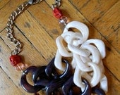 Oversized Mixed Chain Necklace with Pink and Red