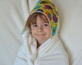 Organic Bamboo Hooded Bath Towel: Elephants, Toddler Size