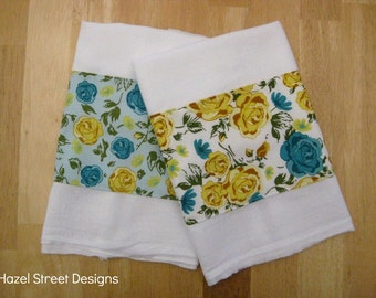 Turquoise & Yellow Floral Dish Towels - Set of 2 - Vintage Inspired