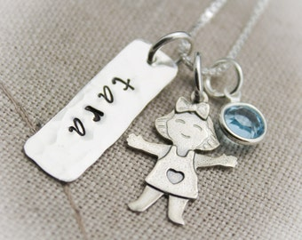 Mother Or Grandmother Silhouette Boy Or Girl Charm Necklace