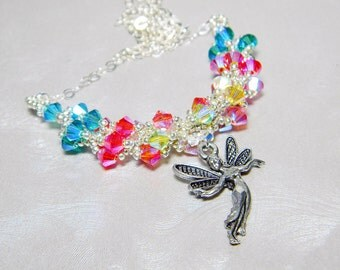 Lilly, the  F*** Off Fairy Swarovski Crystal Spiral Necklace Beadweaving Sterling Silver