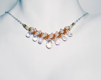 "Princess Bride Inspired Beadweaving Necklace Gold Cream Pearl Pink Briolette - ""Buttercup"" by Whimsy Beading"