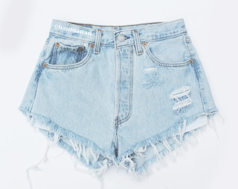 "ALL SIZES ""PLAINO"" Vintage Levi high-waisted denim shorts light blue distressed frayed jeans"
