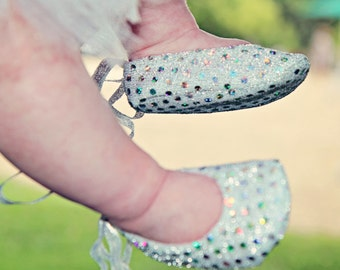 Sweet Sophia Silver Sparkle Baby Shoes - Ballet Style With Silver Ankle Ties For Infants And Toddlers