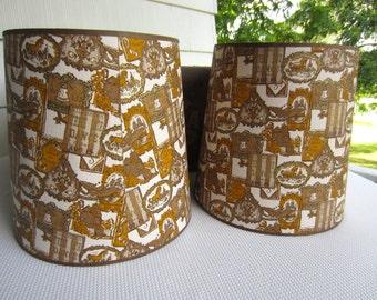 Vintage Retro Brown Mustard Colonial Americana Lampshades