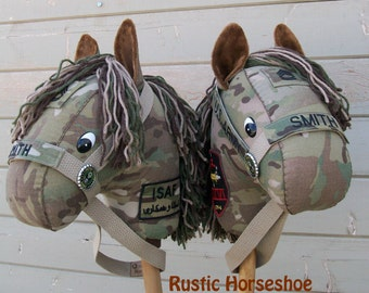 "MADE to Order  Classic Collection ""Military BDU"" Stick Horse or Pony Made from YOUR Uniform"
