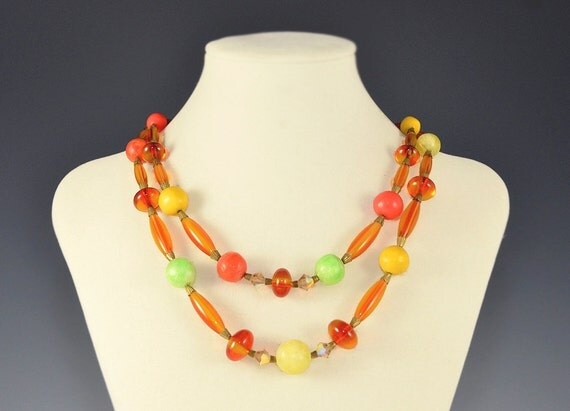 Lucite Crystal Necklace Fruit Salad Green Lime Kiwi Orange Yellow Amber Coral AB Beaded Vintage - W2577