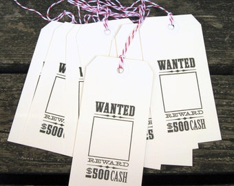 Cowboy Tags, Western Tags, Western, Cowboy Birthday, Western Theme, Gift Tags, Cowboy, Dead or Alive, Wanted Poster, Cowboy Party, Photo Tag