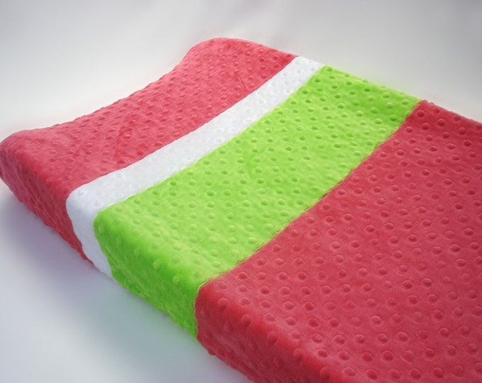 Watermelon Pink Changing Pad Cover with Stripes