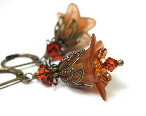 Vintage Style, Flower Earrings, Dangle, Toasted Tangerine Orange, Apricot, Swarovski Crystal Jewelry, Antique Brass, For Her, Autumn, Fall