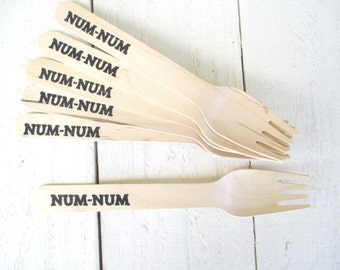Num Num Stamped Wooden Party Forks Disposable and Compostable