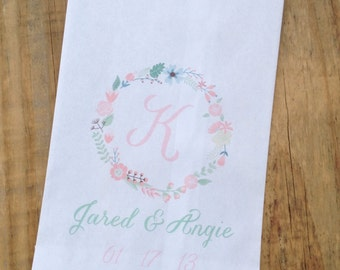 Shabby Wreath Monogram Wedding Favor Bags