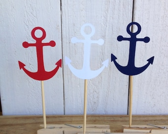 Nautical Anchor Cupcake Toppers Food Pick