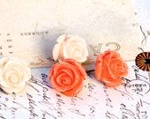 SALE! Light Peach and Coral Resin Rose Posts. Flower Stud Earrings. Valentines Day. - LizHutnick