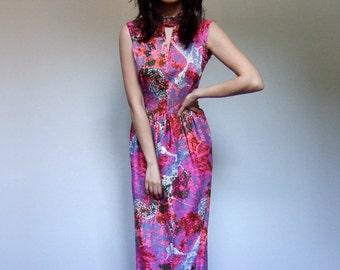 70s Boho Maxi Dress Hippie Print Long Floor Length Dress Pink Summer Dress Sundress - Small S