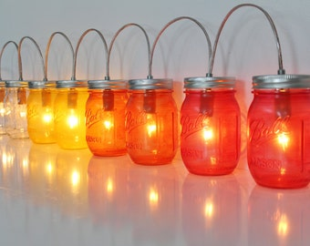 OMBRE Mason Jar Lamp String Of Lights - BANNER Style Lighting Fixture In Clear, Yellow, Orange, Red Jars - Upcycled Rustic BootsNGus Lamps
